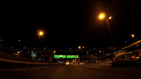 Japanese cityscape. Traveling straight ahead of the night capital highway ライブ動画