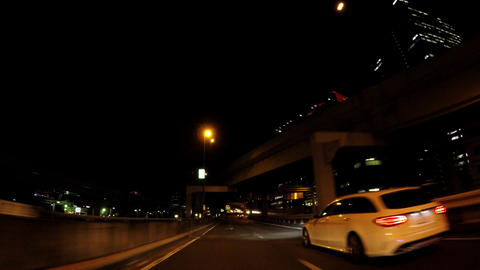 Japanese cityscape. Traveling picture of night capital highway ライブ動画