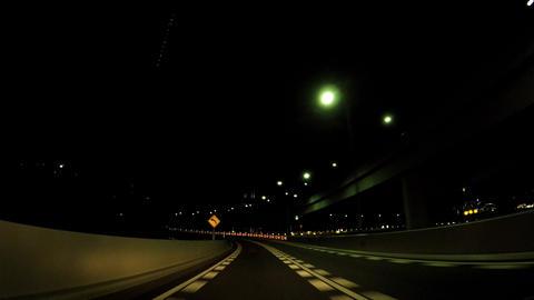 Urban landscape in Japan. Carve on a highway at night ビデオ