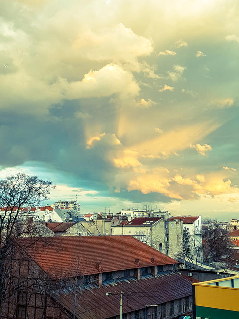 Beautiful Clouds above the City Photo