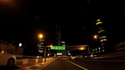 Japanese cityscape. Night capital highway and building window light ビデオ