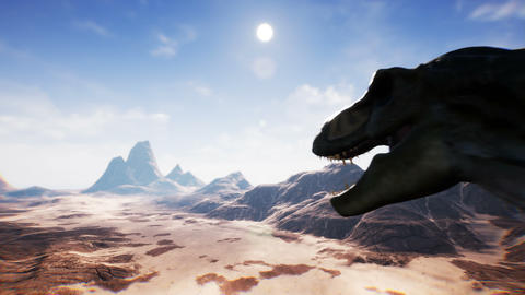 T Rex Tyrannosaur Dinosaur animation in desert. realistic render. 4k Animation
