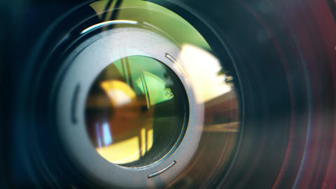 Focusing lens of digital camera. The Lens Of The Camera. Close-Up. Camera Focus Footage
