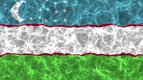 Realistic wavy flag over water background with seamless loops Animation