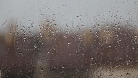Raindrops On Window Glass Footage