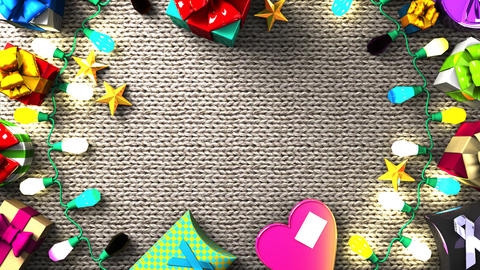 Garland Lights and Colorful Gift Boxes Animation