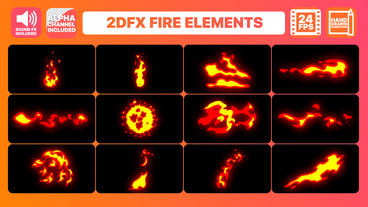 Hand Drawn Fire Elements Pack After Effectsテンプレート