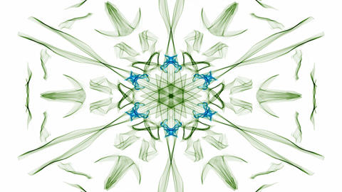 Green and blue watercolor symmetric star patterns with rotating area, fractal on Animation