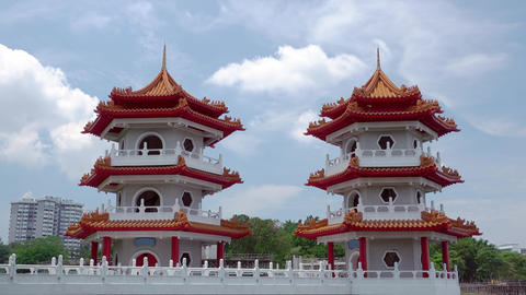 Twin Pagoda in Singapore and Clouds. Time Lapse 영상물