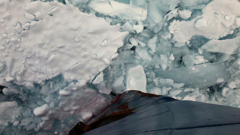 Bow Of A Ship Going Through Pack Ice In Antarctica Live Action