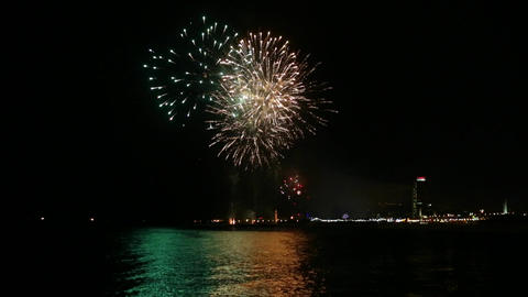 Fireworks over the sea in Barcelona ビデオ