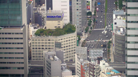 Aerial view of Tokyo traffic high above 영상물
