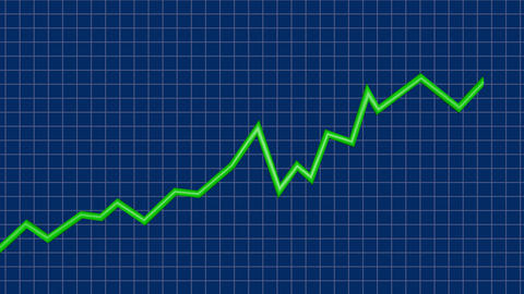 Line Graph rising. Upwards slope, 3d animation Animation