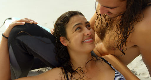 Couple tenderly stroking each others wet hair 4K 4k Live Action