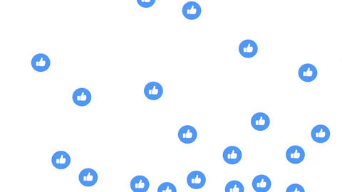 Social media like icon flying, on a white background with alpha matte Animation