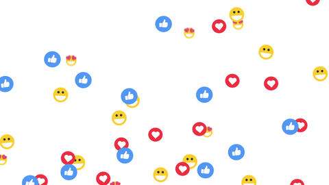 Social media emoticon flying background, on a white background, with alpha matte CG動画