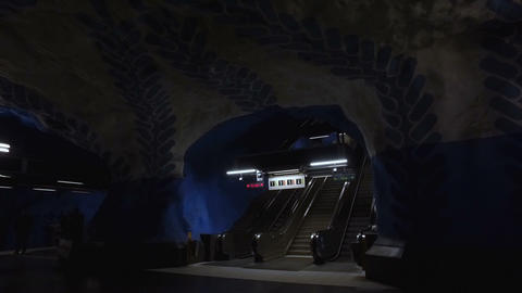 Escalator at Metro Station in movement Footage