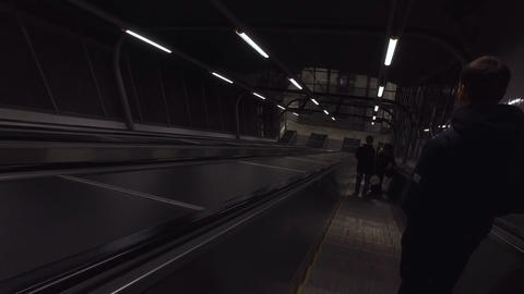 Descending on an Escalator Footage