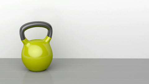 Kettlebell on gray floor Animation