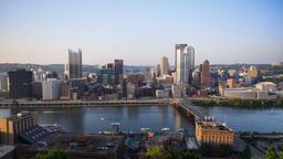 Pittsburgh Skyline Tilt Up Establishing Shot Footage