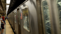 New York Subway Train Approaches the Station Footage
