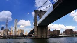 New York City Skyline Brooklyn Bridge Footage