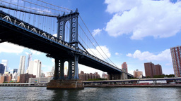 New York City Skyline Manhattan Bridge Footage