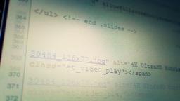 Scrolling thru Computer Code 3640 Footage
