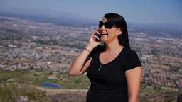 Woman on Cell Phone in the Desert 3681 Footage