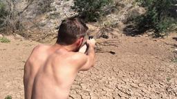 Firing a Polish 9mm Makarov in the Desert 3733 Footage