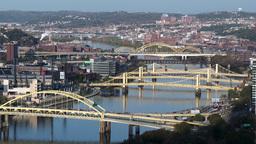 4K Pittsburgh Three Sisters Bridges 3738 Footage