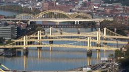 4K Pittsburgh Three Sisters Bridges 3739 Footage