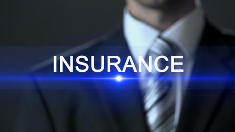 Insurance, male in official suit pressing button on screen, security, protection Footage