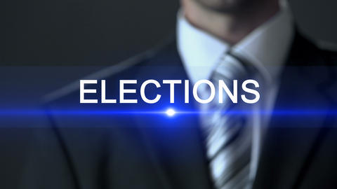 Elections, politician in suit pressing button on screen, political campaign Footage
