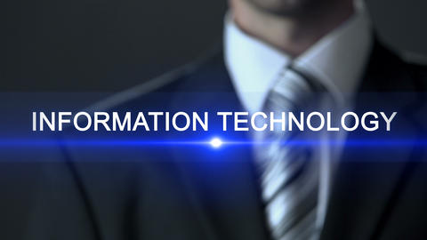Information technology, businessman in suit touching screen, IT business ビデオ