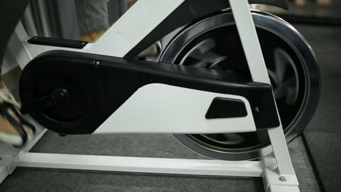 Exercise on an exercise bike Footage