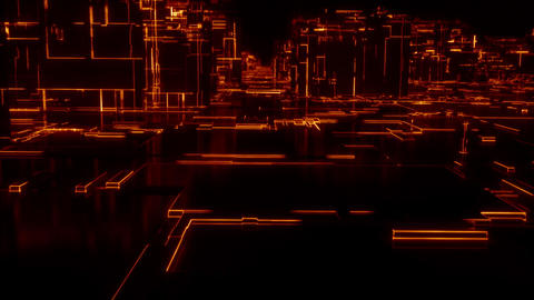 Digital Network City Loop - Warm Color Animation