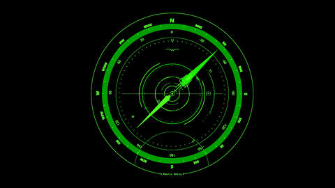 Green HUD Compass Interface Motion Graphic Element Animation