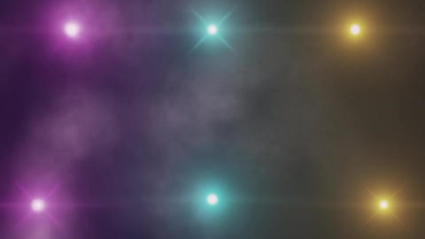 Colorful 6 Stage Lights and Smoke VJ Loop Motion Background V5 Animation