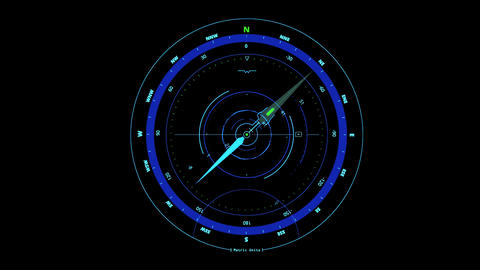 Blue HUD Compass Interface Motion Graphic Element Animation
