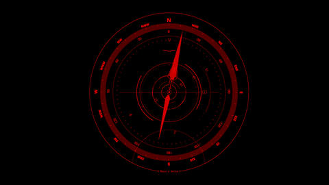 Red HUD Compass Interface Motion Graphic Element Stock Video Footage