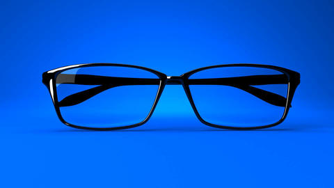 Black Glasses On Blue Background Animation