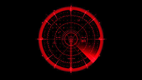 Red HUD Radar Interface Motion Graphic Element Animation
