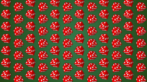 Red dice cubes casino gambling green background Stock Video Footage
