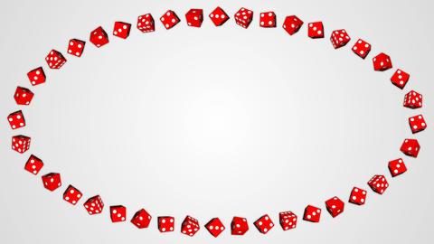 Red dice cubes casino gambling white ellipse border frame background Animation