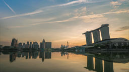 Singapore business district city skyline waterfront sunrise timelapse, Marina Footage