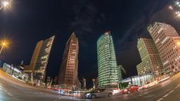 Berlin city skyline night timelapse at Potsdamer Platz, Berlin, Germany 4K Time Footage
