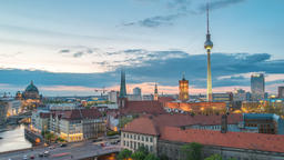 Berlin city skyline day to night timelapse with Berlin TV... Stock Video Footage