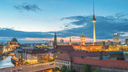 Berlin city skyline day to night timelapse with Berlin TV Tower and Spree River, Footage