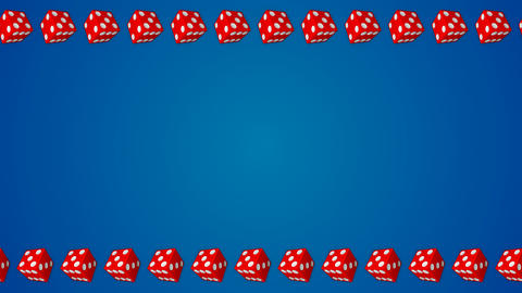 Red dice cubes casino gambling blue border frame background Animation